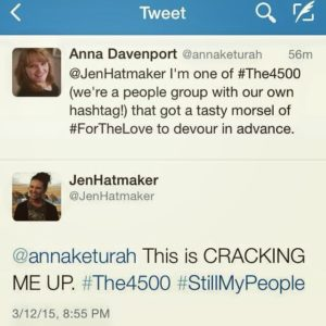 I cracked up Jen Hatmaker, you guys.